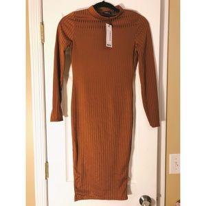 NWT Boohoo Ribbed Mock Neck Body Con Dress